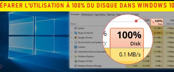reparer l'utilisation a 100% du disque dur dans windows 10 stm